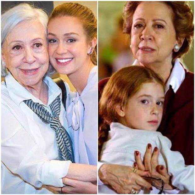 Marina Ruy Barbosa e Fernanda Montenegro atualmente e há 13 anos (Foto: Reprodução/Instagram)