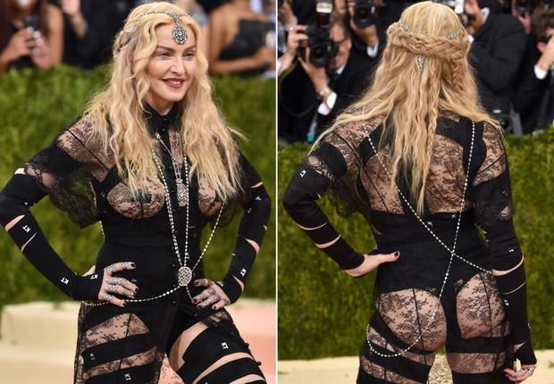 Madonna surgiu no último MET Ball com parte das nádegas e dos seios à mostra (Foto: Getty Images/ Reprodução)