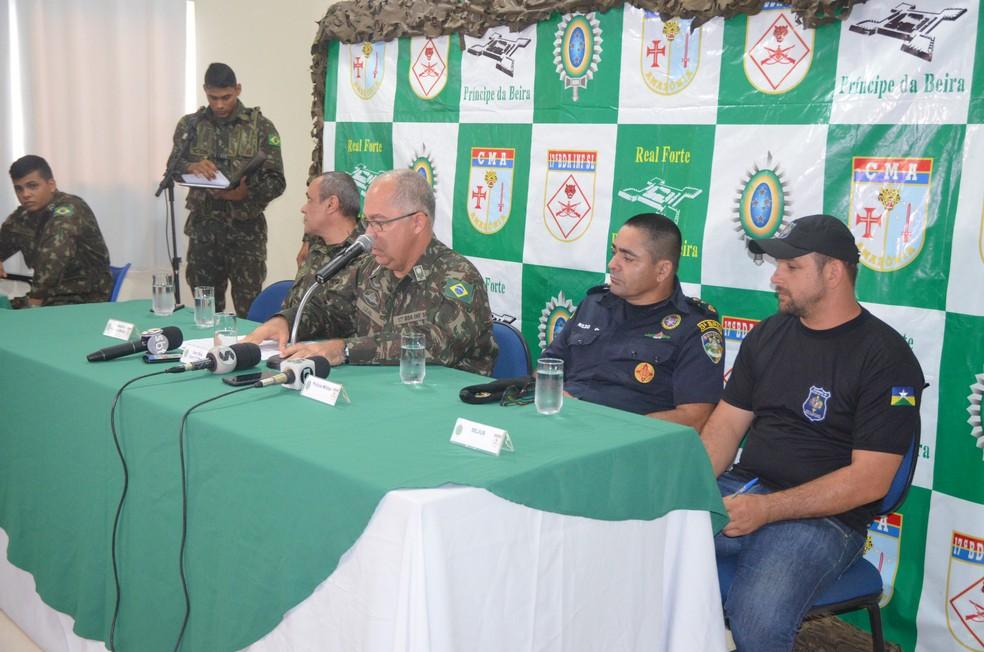 Coletiva de imprensa em Cacoal (Foto: Rogério Aderbal/G1)