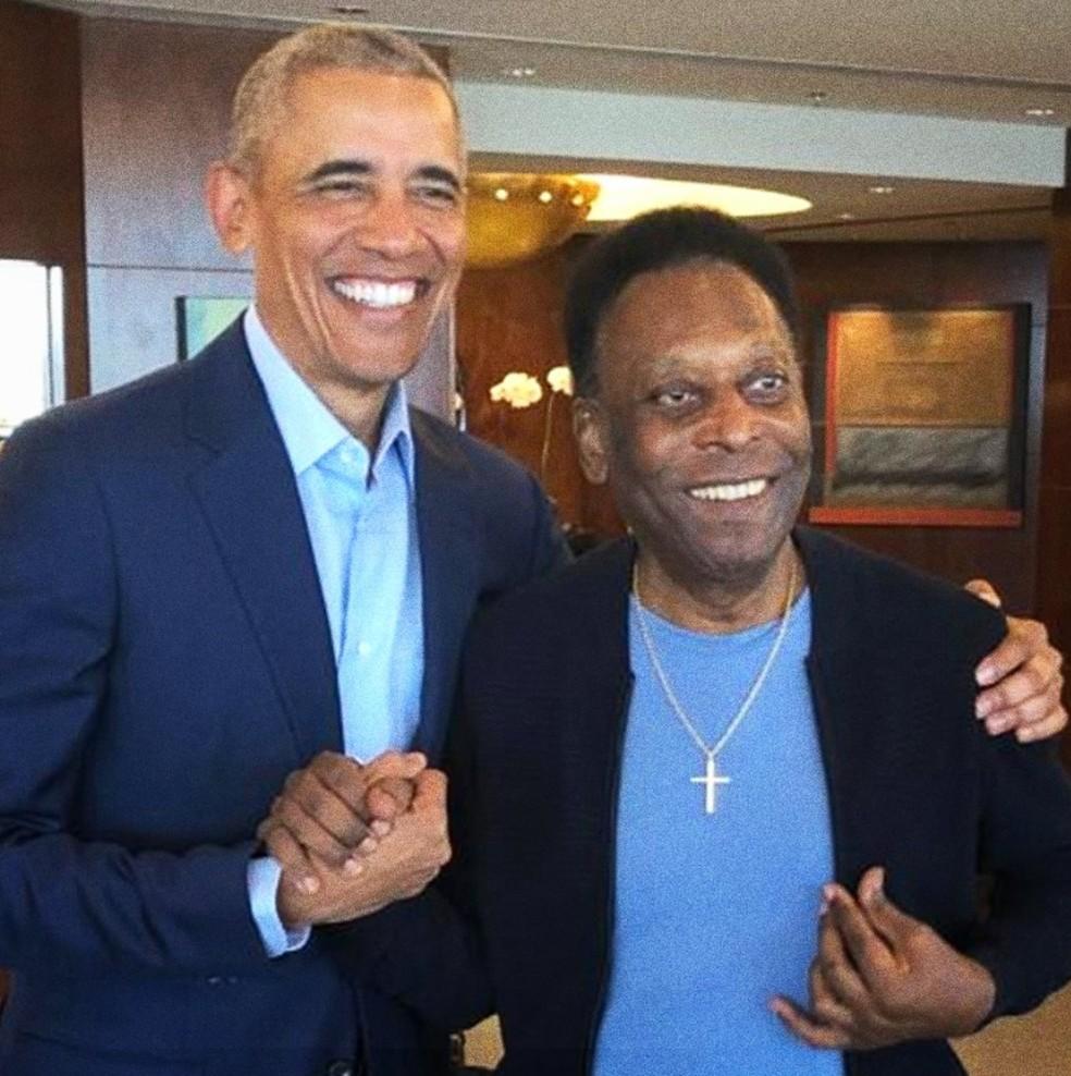 Barack Obama e Pelé se encontraram em São Paulo — Foto: Reprodução/Twitter