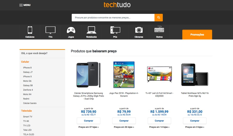 255af0ca9b ... Compare TechTudo monitora os preços e ajuda na hora da compra — Foto   Reprodução