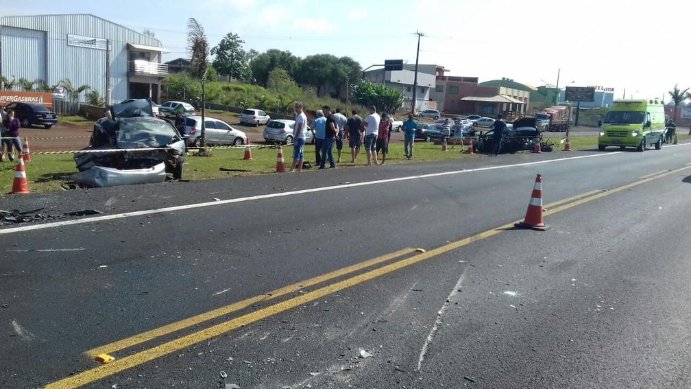 Acidente aconteceu na manhã deste domingo (1º), em Céu Azul (Foto: Divulgação/PRF)