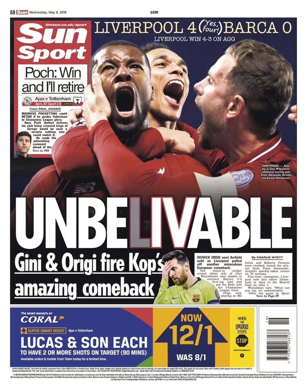 The Sun Liverpool x Barcelona — Foto: Reprodução