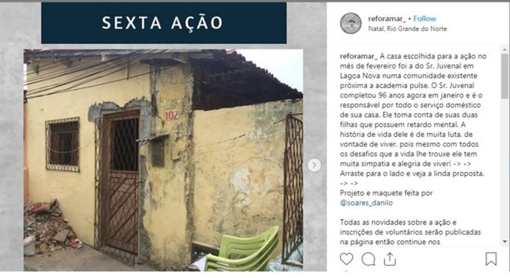 A sexta casa reformada pelo grupo que criou era de um homem de 96 anos: fachada, sala e cozinha foram transformados — Foto: Divulgação Reforamar/BBC