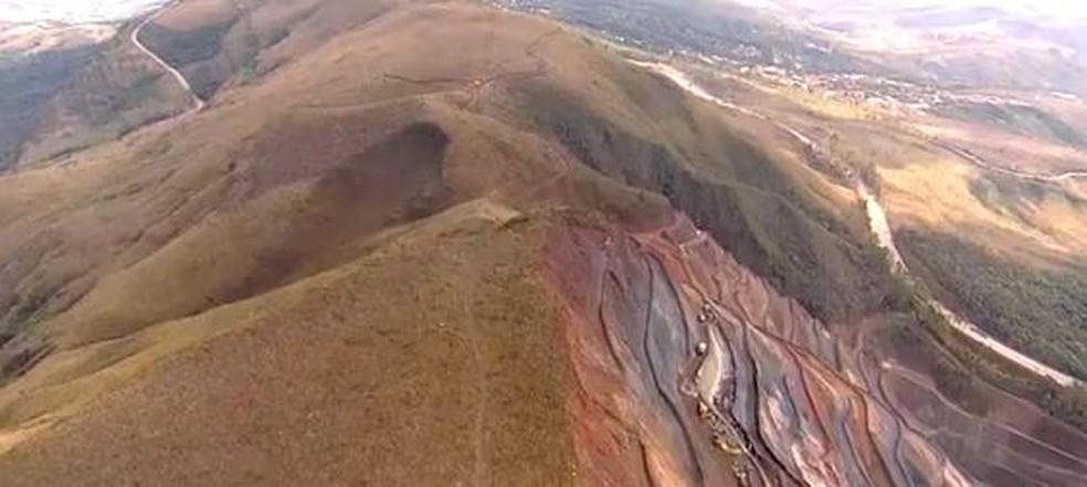 Serra da Moeda tem histórico de exploração de minério — Foto: Reprodução/TV Globo
