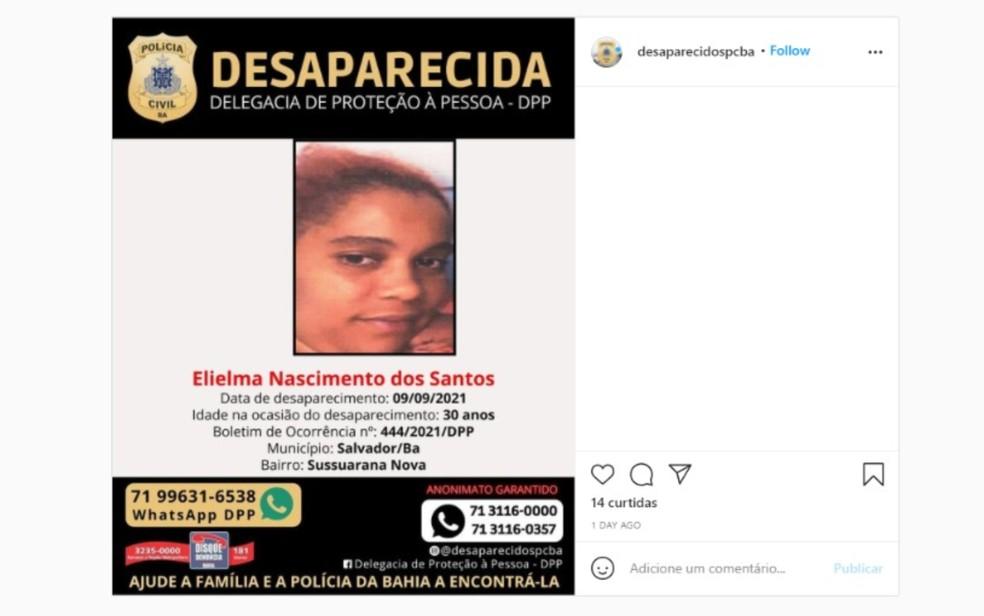 Família procura por mulher que desapareceu após discutir com o marido em Salvador — Foto: Reprodução/Redes Sociais