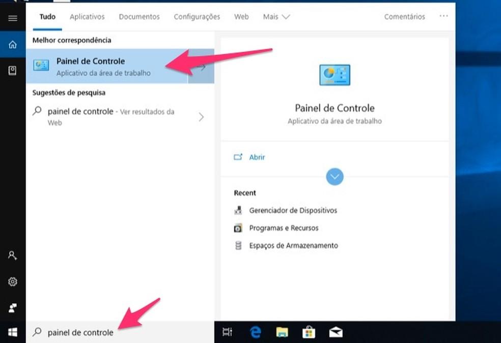 Ação para abrir o Painel de Controle do Windows 10 para verificar problemas com a reprodução de áudio — Foto: Reprodução/Marvin Costa