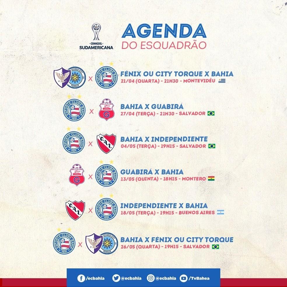 Sequência de jogos do Bahia na Sul-Americana 2021 — Foto: Divulgação / EC Bahia