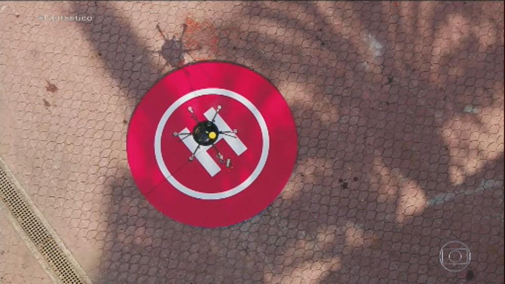 Equipamento utilizado no primeiro teste de delivery de comida com drone do Brasil — Foto: Reprodução / Fantástico