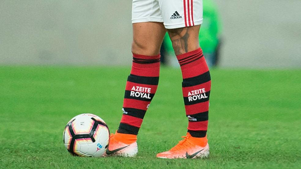 Azeite Royal exibia marca no meião do Flamengo — Foto: Divulgação