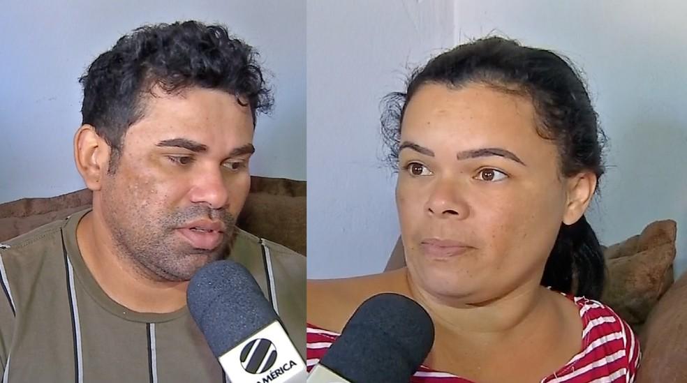 Marcos Souza da Costa e Dayane Palmeiras dos Santos, pai e madrasta da criança atropelada em Rondonópolis — Foto: TV Centro América