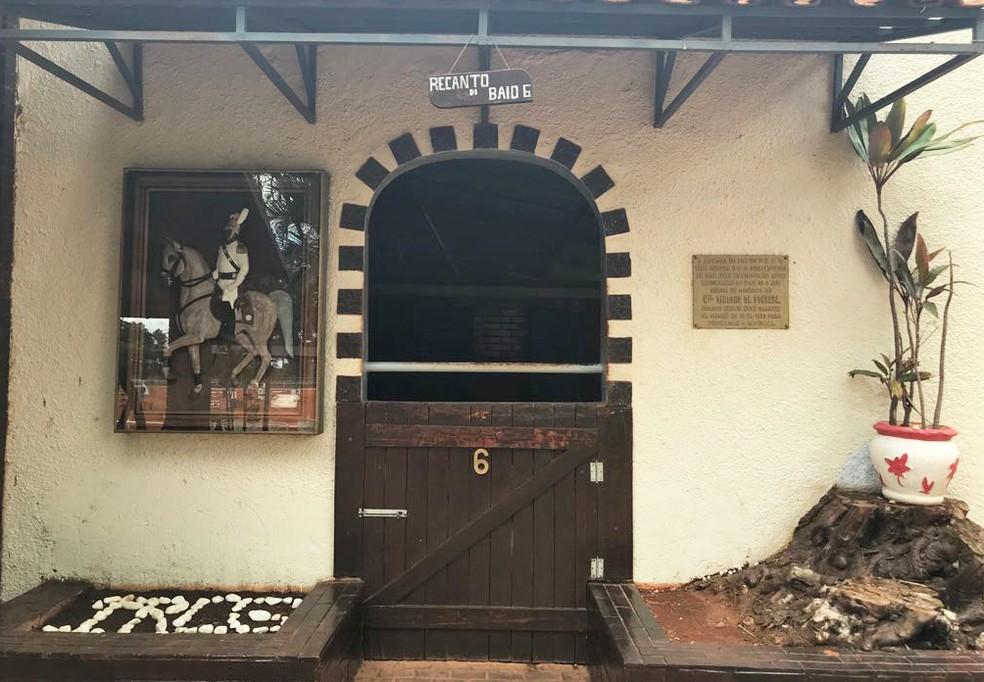 'Escritório' do cavalo Baio no 1º RCG, em Brasília — Foto: Marília Marques/G1