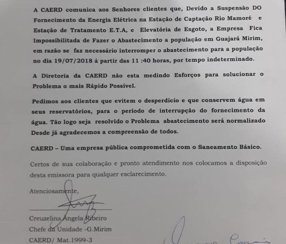 Caerd divulgou nota falando sobre a situação em Guajará (Foto: Reprodução)