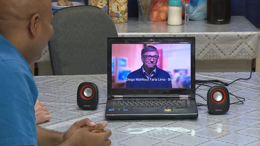 Divulgação do nome de Diego Mahfouz Faria Lima, professor de São José do Rio Preto (SP), foi feita por Bill Gates (Foto: Reprodução/TV TEM)