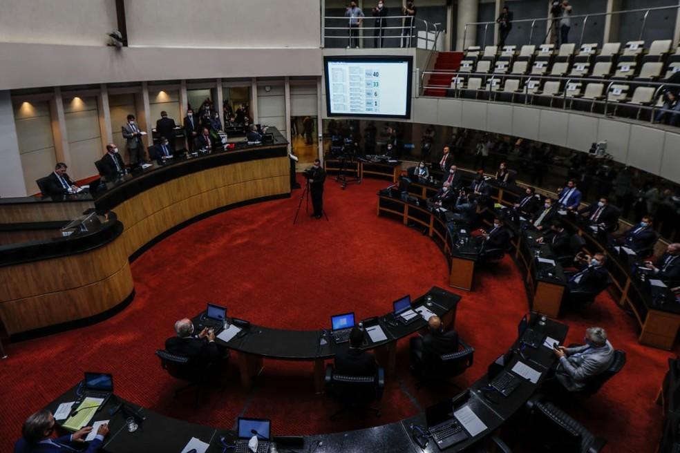 Sessão extraordinária de votação sobre processo de impeachment contra governador de SC, Carlos Moisés — Foto: Diorgenes Pandini/NSC