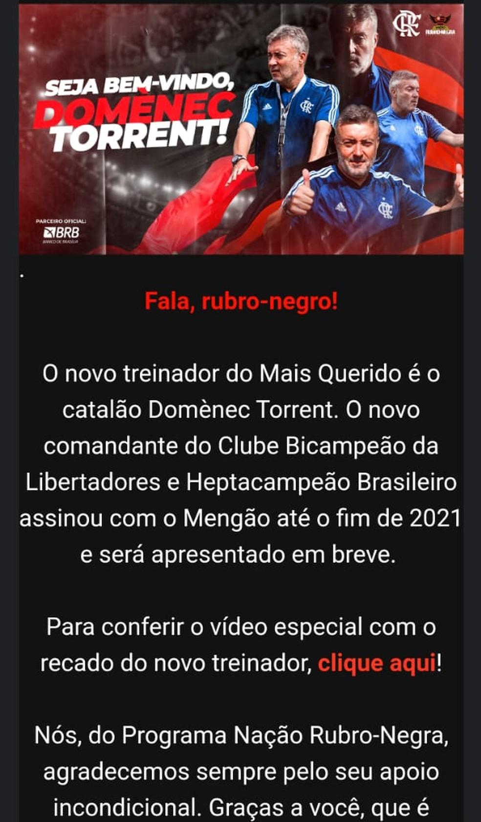 Flamengo Domènec Torrent — Foto: Reprodução