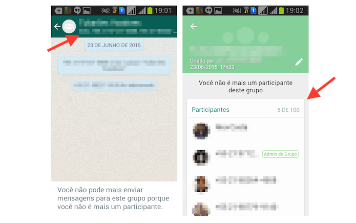 Acessando as configurações de um grupo do WhatsApp para Android (Foto: Reprodução/Marvin Costa)
