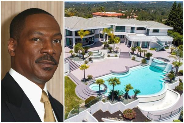 Eddie Murphy e sua mansão avaliada em US$ 10 milhões (Foto: Getty Images / Imobiliária Sotheby's International Realty)