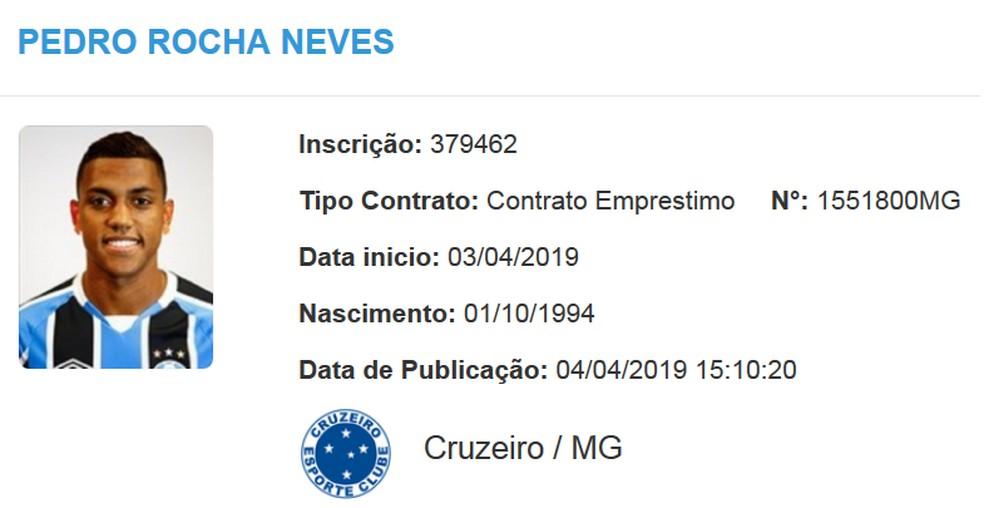 Contrato de Pedro Rocha com o Cruzeiro é publicado no BID da CBF — Foto: Reprodução
