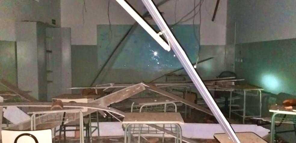 Incêndio destrói escola particular em Itaporanga — Foto: Corpo de Bombeiros/ Divulgação