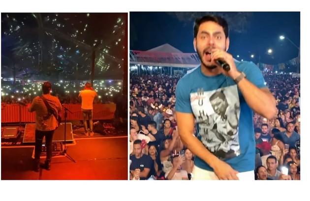Rodolffo, que é cantor sertanejo, costuma estar no palco durante a folia. Em 2020, cantou em Goiás (Foto: Reprodução)