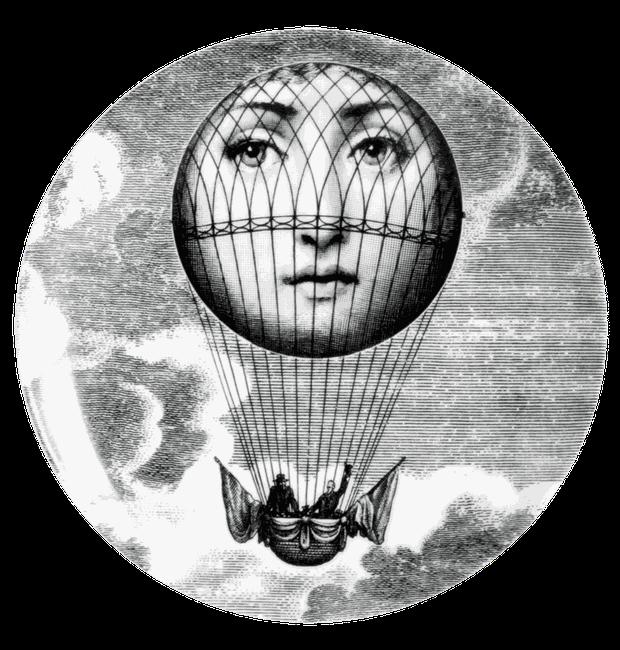 O rosto da musa inspiradora coloriu um balão de ar quente - há quem diga que numa homenagem ao filme Volta do Mundo em 80 dias (Foto: Fornasetti/Reprodução)