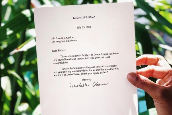 A carta que a empreendedora recebeu da ex-primeira dama Michele Obama (Foto: Divulgação)