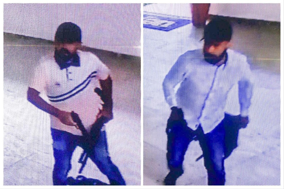 PM divulgou imagem de dois suspeitos de assaltar carro-forte em universidade na Paraíba — Foto: Reprodução/Polícia Militar
