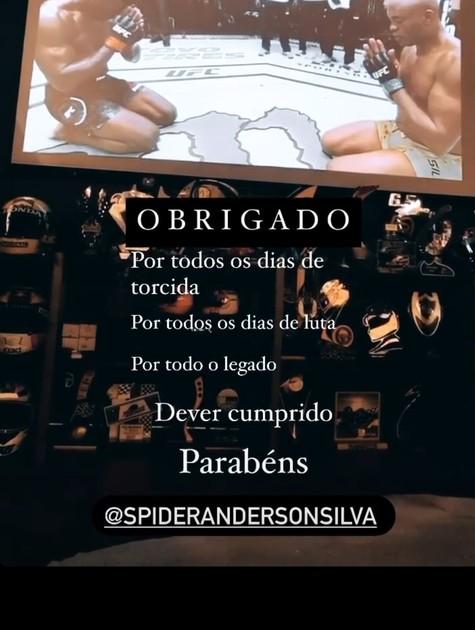 Homenagem de Caio Castro ao lutador Anderson Silva (Foto: Reprodução Instagram)