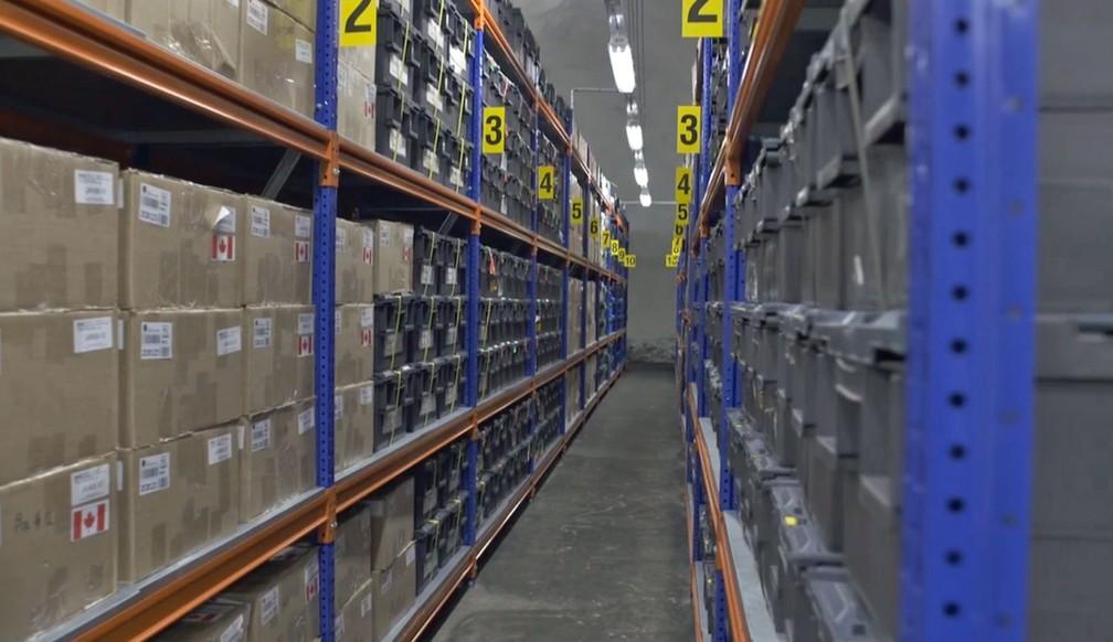 Sementes armazenadas em Svalbard (Foto: Reprodução/TV Globo)