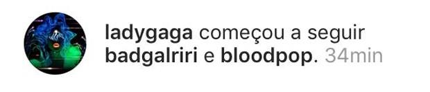 Lady Gaga começa a seguir Rihanna (Foto: Reprodução/Instagram)