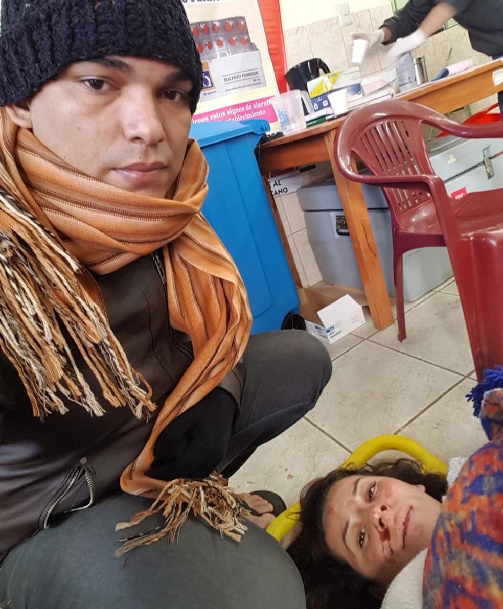 Márcio Valente teve escoriações e uma contusão no abdômen, mas a esposa Selma sofreu várias fraturas e passou por cirurgia  (Foto: Márcio Valente/Arquivo pessoal)