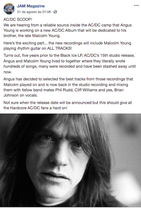 O post da revista JAM Magazine revelado a utilização de gravações deixadas por  Malcolm Young no próximo disco do AC/DC (Foto: Facebook)