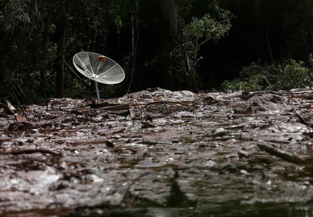 Destroços do rompimento da barragem de mineração da Vale, em Brumadinho (Foto: Reprodução/Agência Brasil)