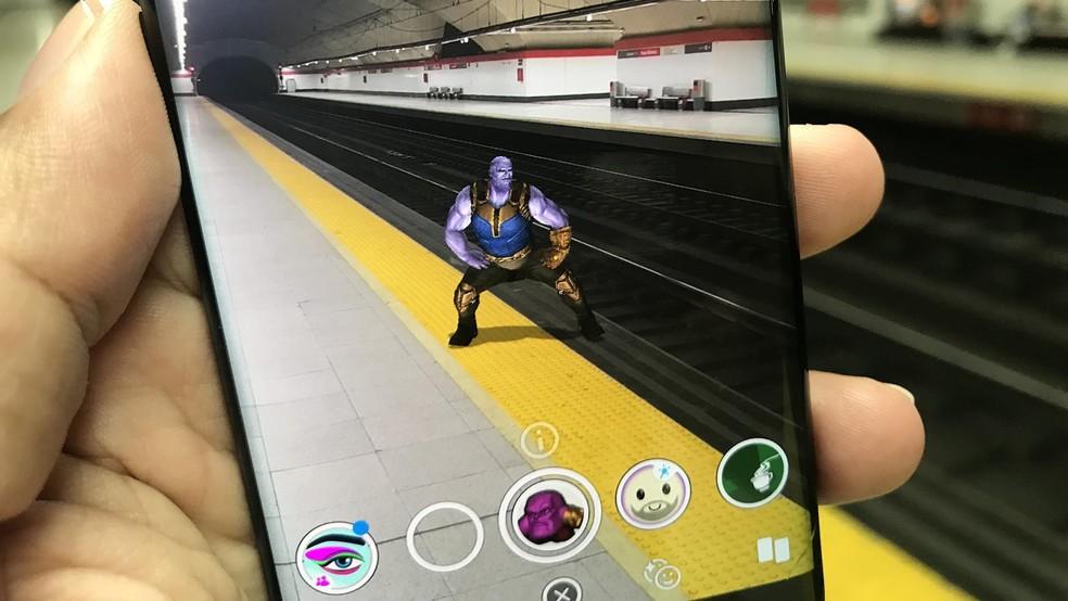 Filtro de Thanos dançando no Snapchat foi compartilhado no Instagram — Foto: Paulo Alves/TechTudo