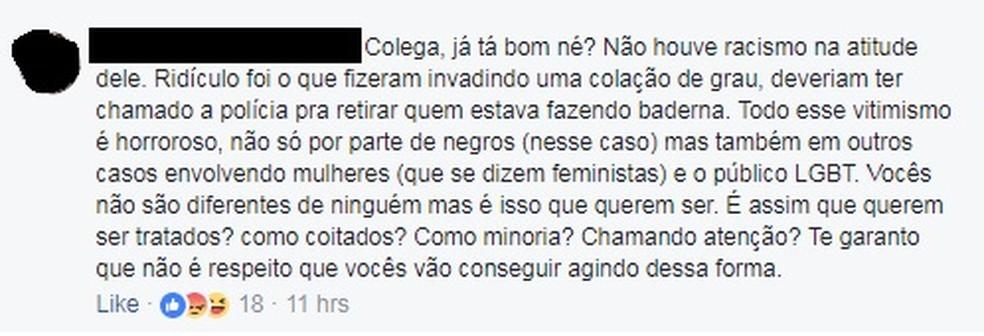 Em comentário, jovem aponta exagero de grupo que invadiu colação de grau de turma de medicina (Foto: Reprodução Facebook)