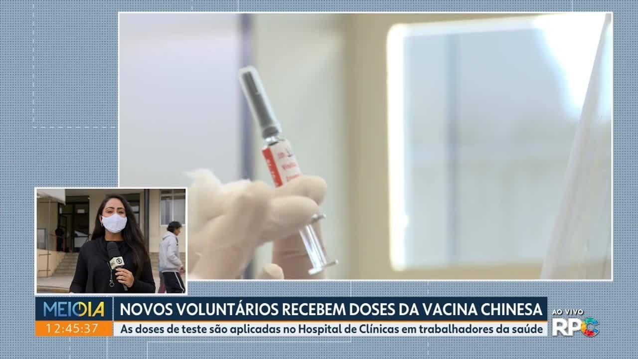 Hospital de Clínicas aplica doses de teste da vacina chinesa em mais voluntários