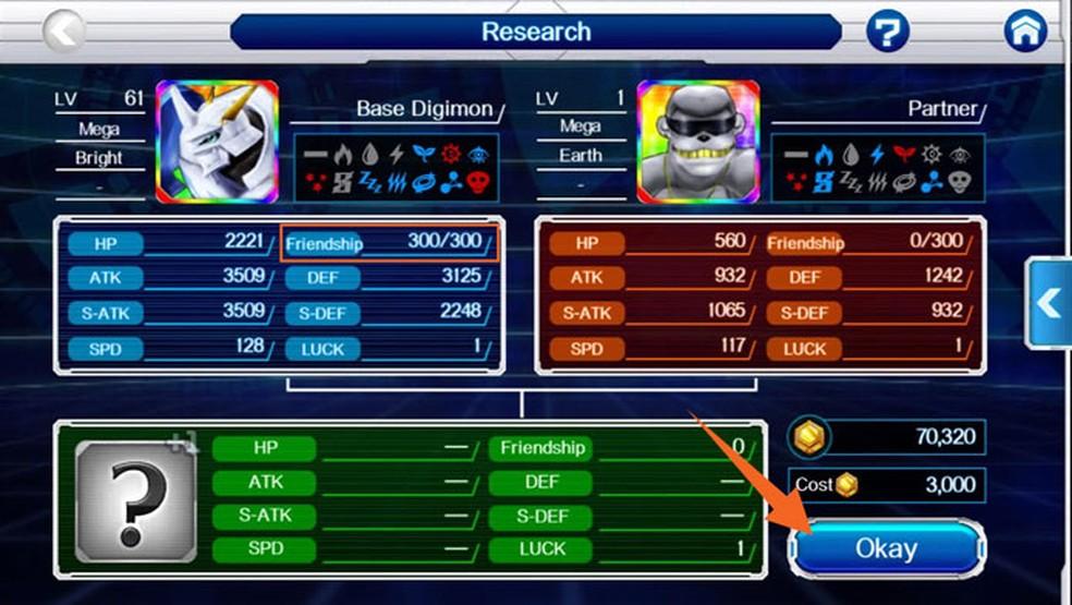 O Digimon base deve ter 300 de Friendship para gerar um DigiEgg +1 em DigimonLinks (Foto: Reprodução/Tais Carvalho)