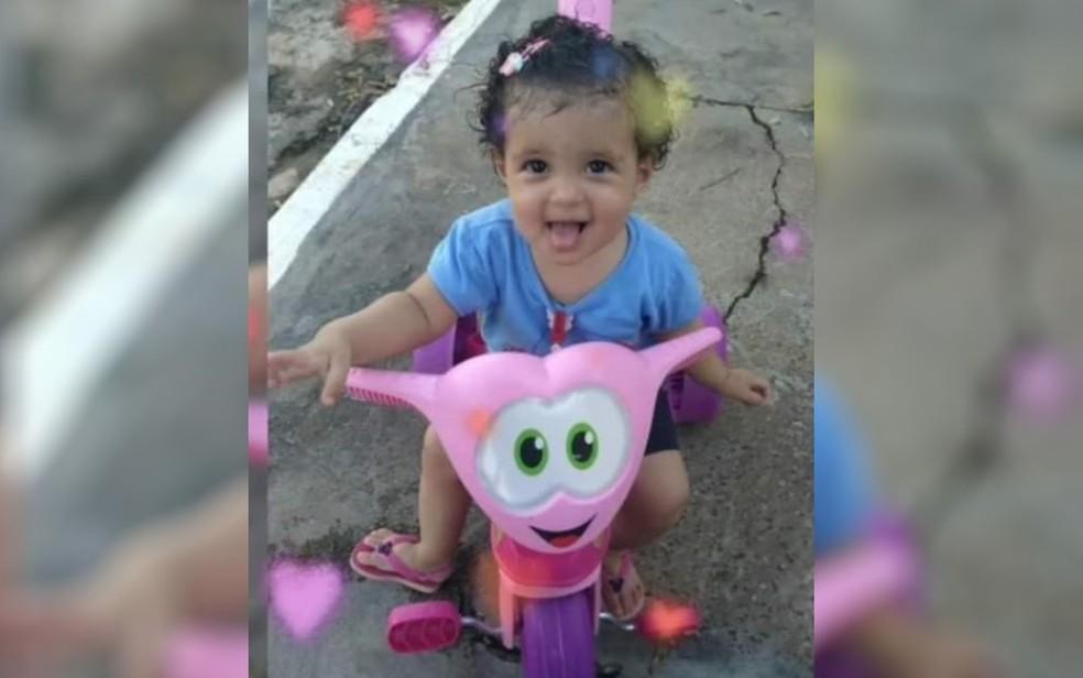Emanuelly foi morta após ser agredida pela mãe, em Santa Rita do Araguaia. — Foto: Reprodução/TV Anhanguera