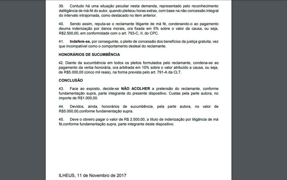 Juiz condenou empregado em ação trabalhista em Ilhéus, no sul da Bahia (Foto: Reprodução)