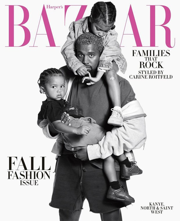 Kanye West e os filhos North e Saint (Foto: Mario Sorrenti)