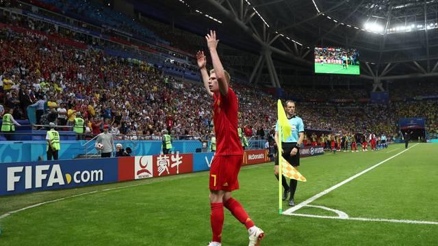 Kevin De Bruyne celebra a vitória sobre o Brasil