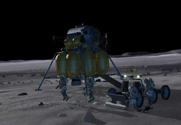 A ideia da NASA é que astronautas usem a Lua como base para viagens pelo Sistema Solar (Foto: Projeção/Nasa)