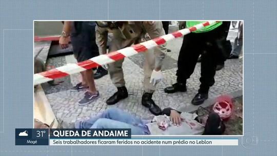 Queda de andaime deixa feridos no Leblon, Rio