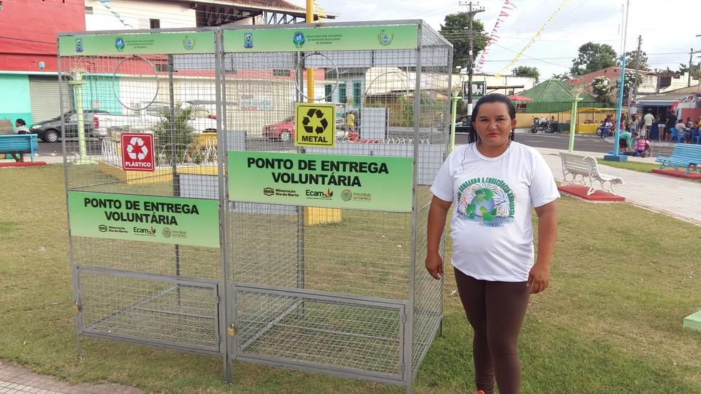 Pontos de coleta de resíduos sólidos foram espalhados na cidade pela campanha EcoCírio (Foto: Ascom ECAM/Divulgação)