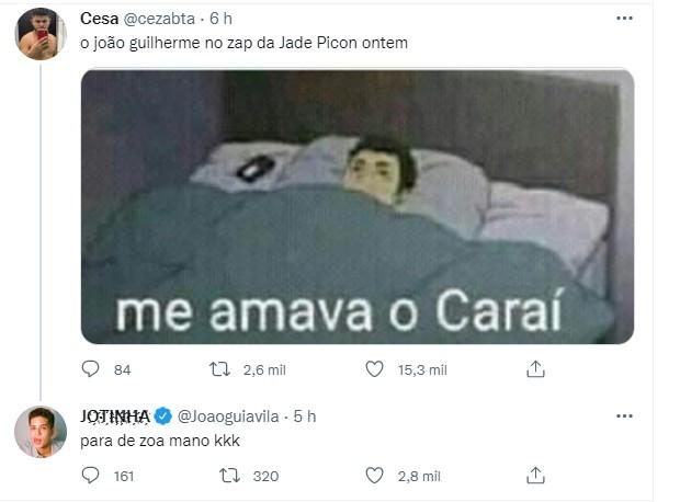 João Guilherme curte posts após boatos de Jade Picon e Neymar ficaram ganhar web (Foto: Reprodução/Twitter)