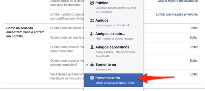 Ação para personalizar a privacidade de posts do Facebook (Foto: Reprodução/Marvin Costa)