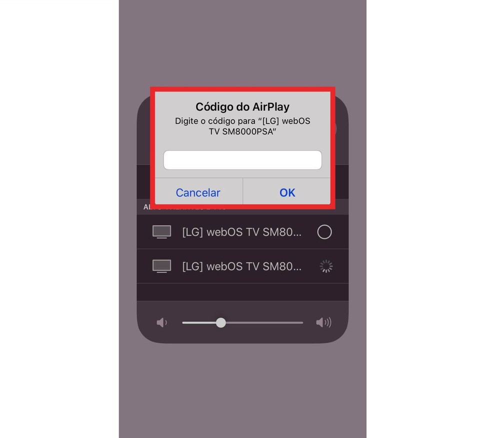 Insira o código de pareamento no iPhone — Foto: Reprodução/Milena Garcia