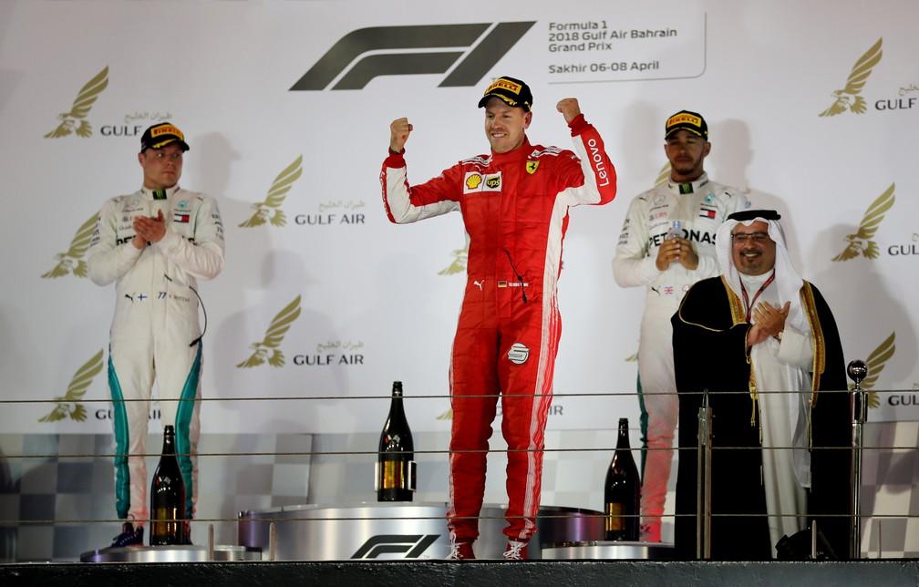 O pódio no Barein, com Vettel em primeiro, Bottas em segundo e Hamilton em terceiro (Foto: Reuters)