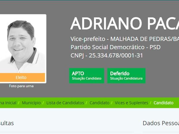 Adriano Paca (PSD) foi preso pela Polícia Federal (Foto: Reprodução/DivulgaCand)